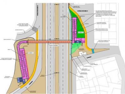 La empresa Viales y Obras Publicas, resulta adjudicataria de las obras de construccion de la Pasarela metalica sobre la carretera BU-11 (Burgos)